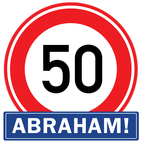 Abraham 50 jaar raamsticker herbruikbaar