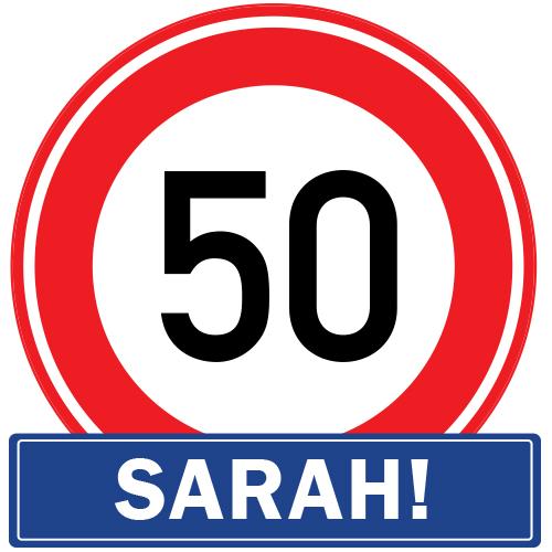 Sarah 50 jaar raamsticker herbruikbaar