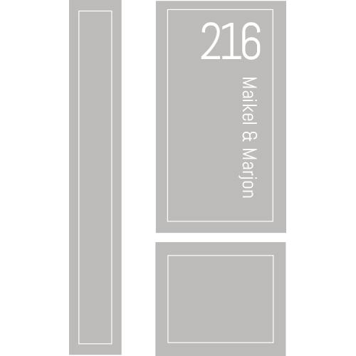 Etched glass raamfolie met naam en huisnummer