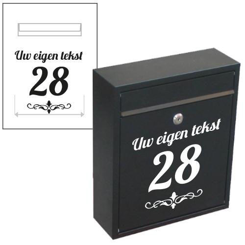 Postgleuf sticker met huisnummer en naam