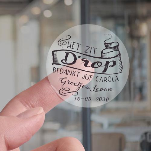 Transparante Sticker het zit D'rop