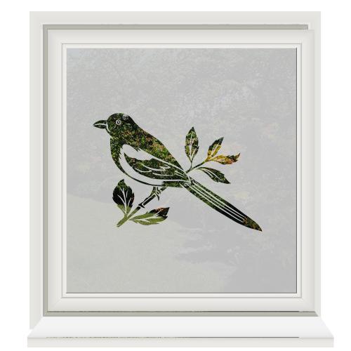 Raamfolie met vogel op een tak