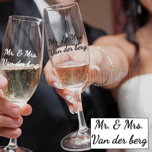 Bruiloftsstickers glazen