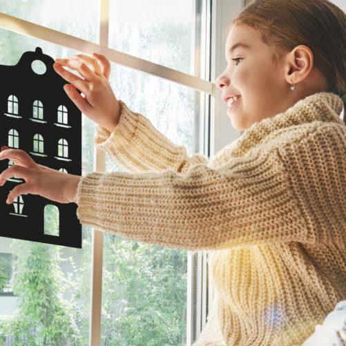 Huisjes raamstickers herbruikbaar
