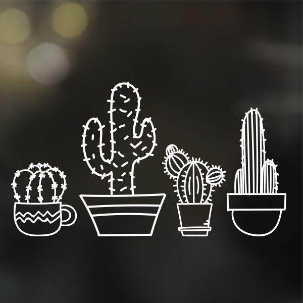 Raamtekening stickers cactussen (herbruikbare raamsticker)