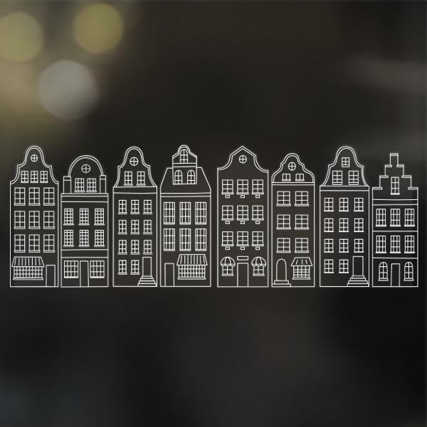Krijtstift raamdecoratie sticker huisjes   herbruikbaar