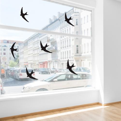 Zwaluw glasstickers herbruikbaar