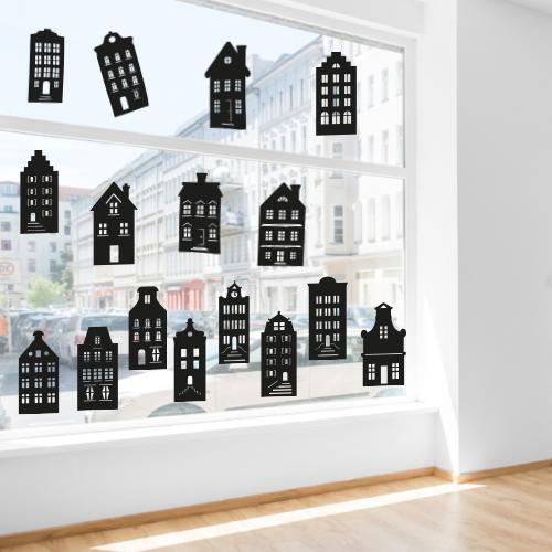 Raamstickers huisjes per stuk