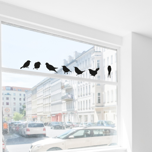 Statische stickers vogeltjes