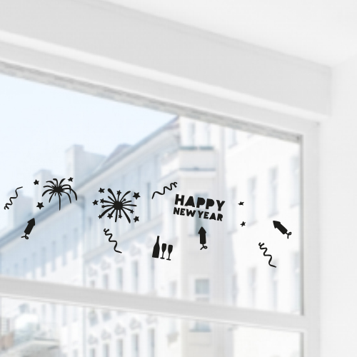 Uitbreidingsset stickers Nieuwjaar, HERBRUIKBAAR