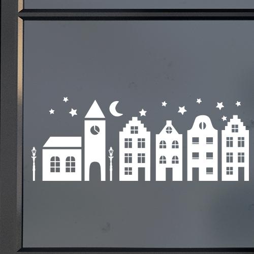 Raamstickers huisjes met kerkje