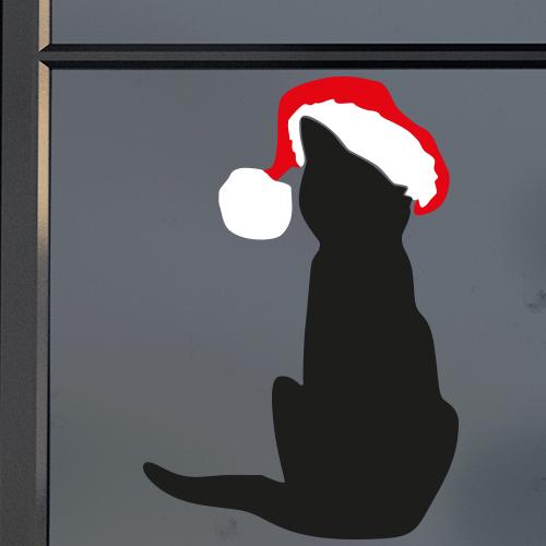 Raamsticker kerst kat