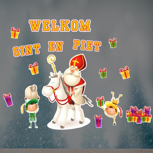 Raamsticker Welkom Sint en Piet full color